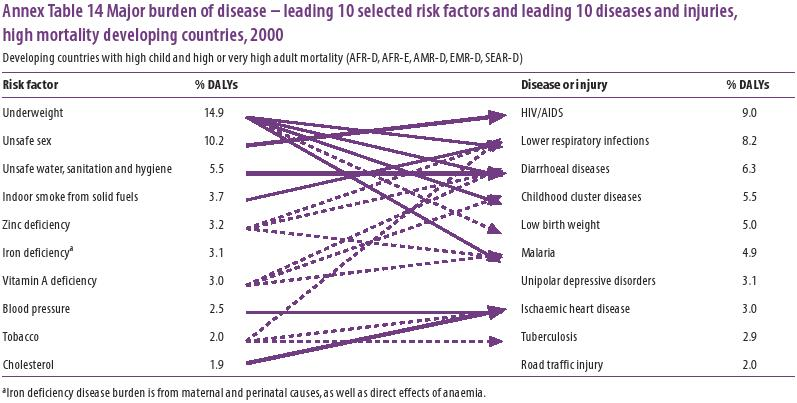 Interlinkages of leading 10 selected risk factors and leading 10 diseases and injuries, high mortality developing countries, 2000 (WHO)