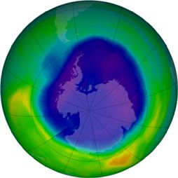 Image of ozone hole from September 13, 2007 (created with data collected from the NASA Aura satellite)